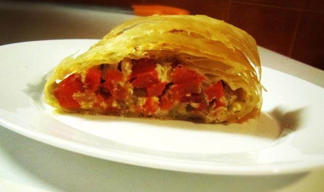 Easy Greek Red Pepper Pie - Piperopita