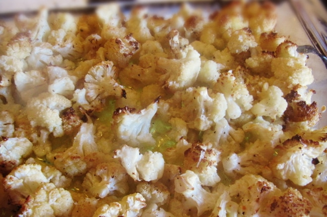 Roasted Cauliflower with Cheese and Garlic