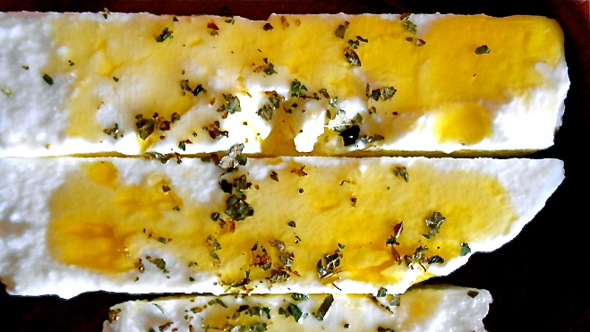 Feta cheese with olive oil and oregano