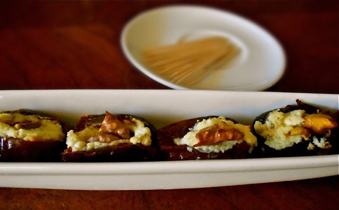 Feta Stuffed Dates- a savory appetizer that's good for you