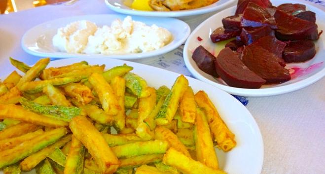 Zucchini sticks, beets and tzatziki (garlic -greek yogurt dip)
