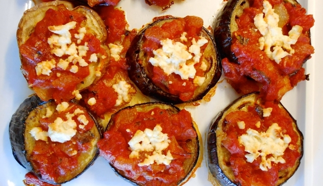 Baked eggplant with feta cheese and olive oil a mediterranean baked eggplant with feta cheese and olive oil forumfinder Choice Image