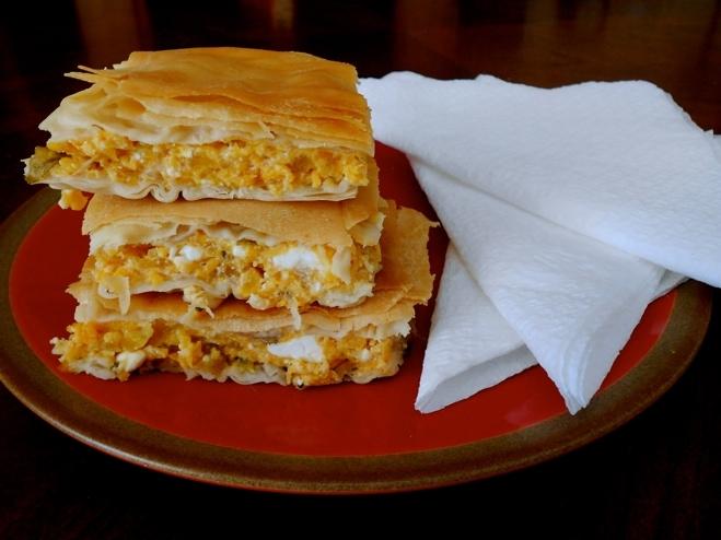 Greek Savory Pumpkin Pie with Feta Cheese-Kolokithopita