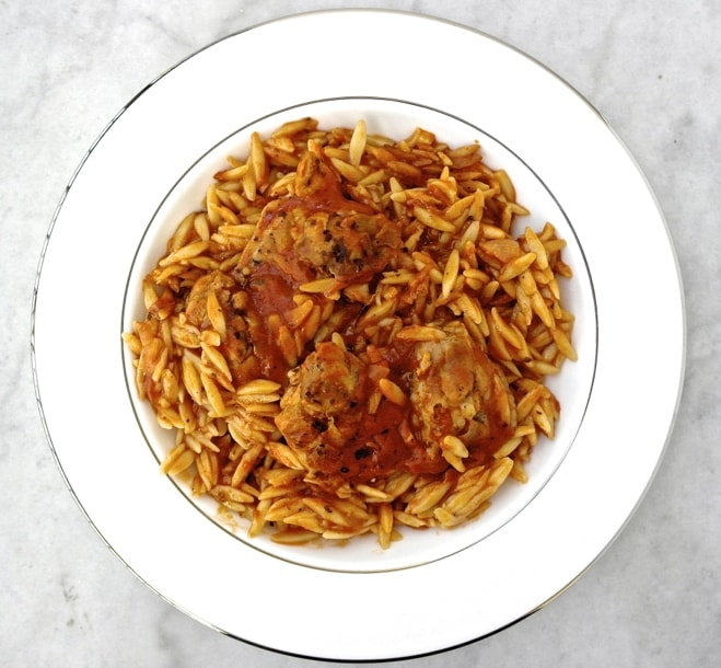 One Pot Greek Chicken with Kritharaki (Orzo) and Tomato