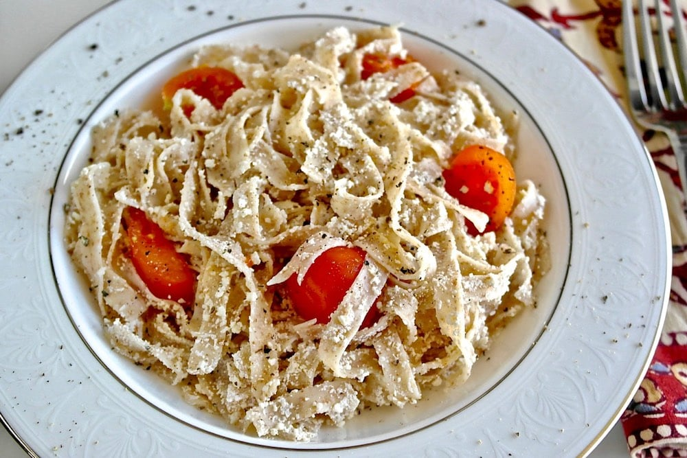 Hilopites: Greek Pasta with Mizithra Cheese and Cherry Tomatoes