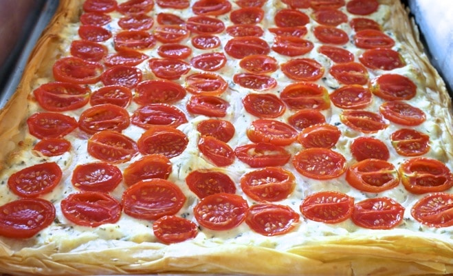 Tomato feta phyllo tart