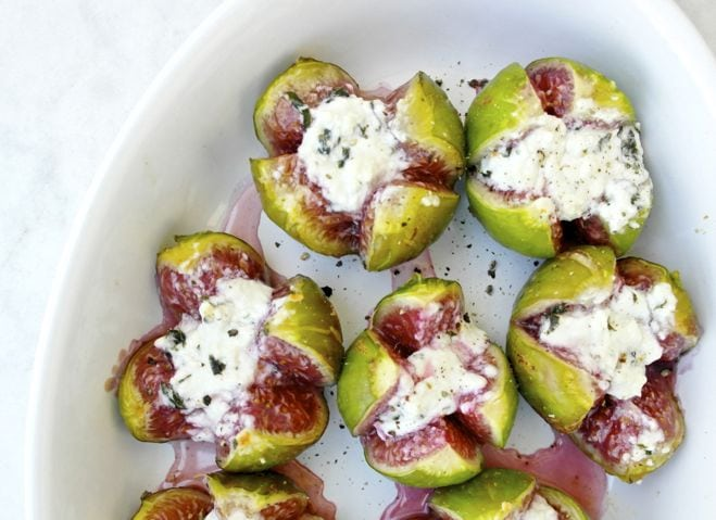 Roasted Figs Stuffed with Feta Cheese