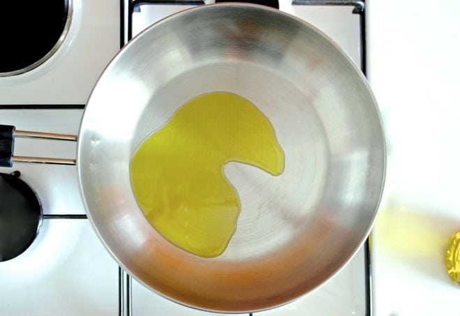 olive oil in a pan