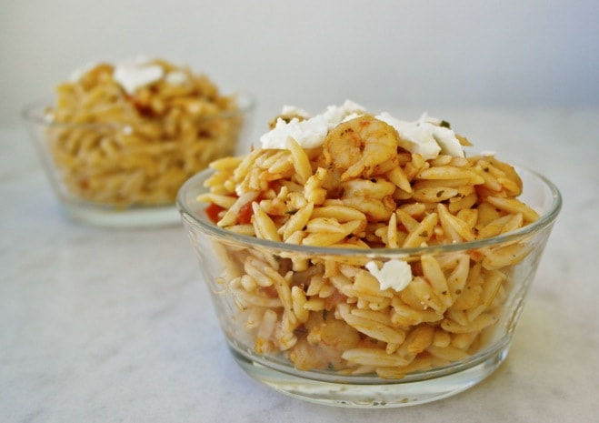 Greek Orzo with shrimp and feta and ouzo