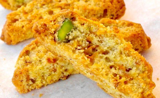 Pistachio olive oil biscotti