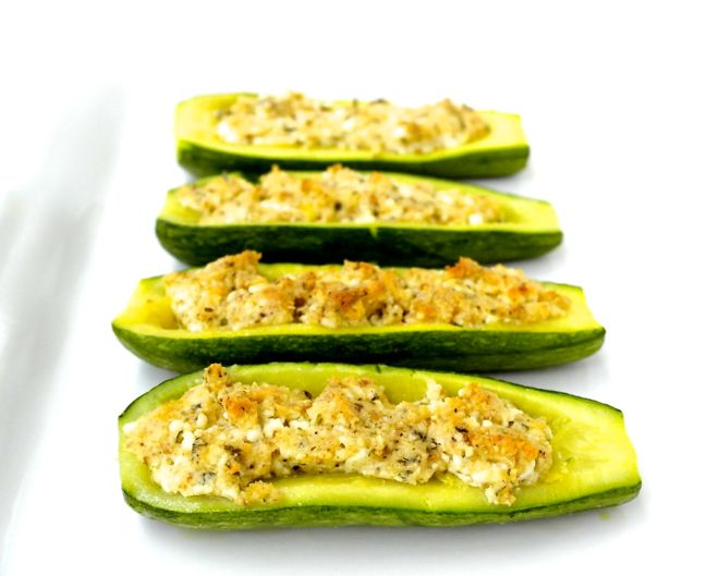Stuffed Zucchini with Feta and Herbs