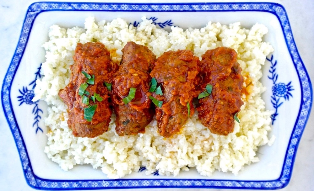 Baked Spiced Greek Meatballs in Tomato Sauce-Soutzoukakia
