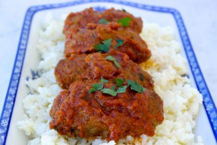 Baked Greek Meatballs  in Tomato Sauce-Soutzoukakia