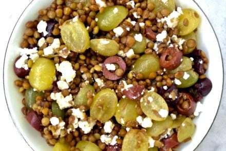 Lentil. grape and feta salad