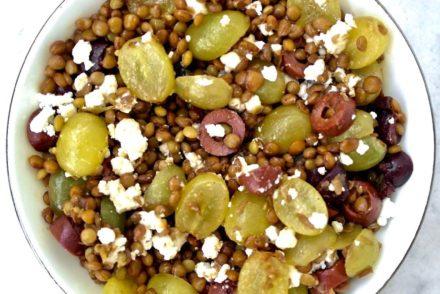 Lentil. grape and feta salad
