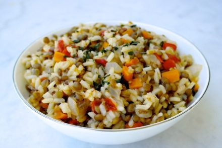 greek rice and lentils fakorizo