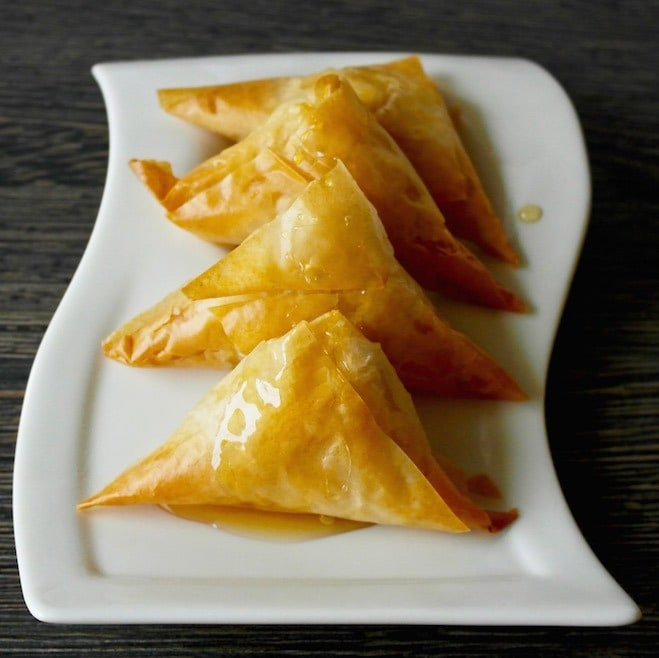 Sweet Cheese Greek Phyllo Triangles Drizzled with Honey