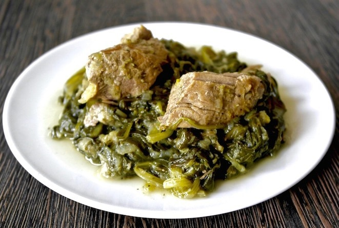 Greek pork and greens with lemon juice - Pork fricassee