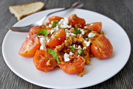Greek Scarmbled eggs with tomatoes and feta - Kagianas