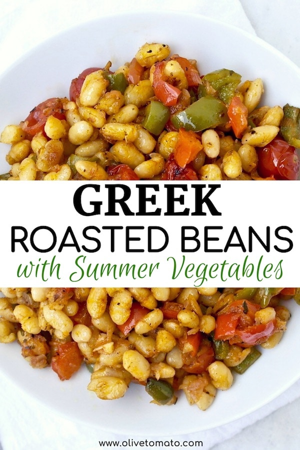 Greek roasted white beans with summer vegetables