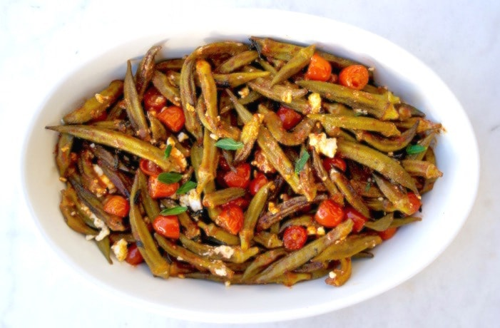 Greek Roasted Okra with Feta, Mint and Cherry Tomatoes – Bamies Sto Fourno