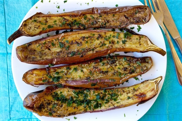 Roasted Marinated Eggplant Appetizer