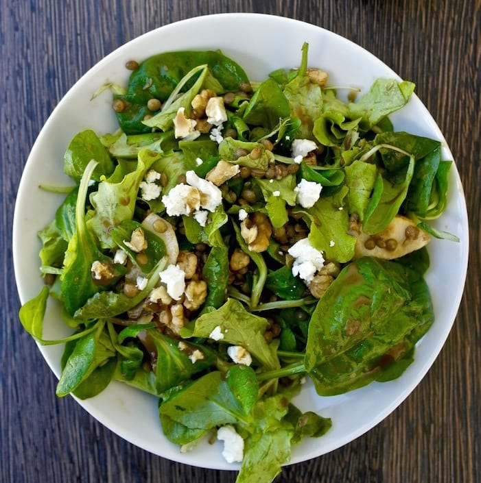 Lentil and Greens Salad with Pear and Feta