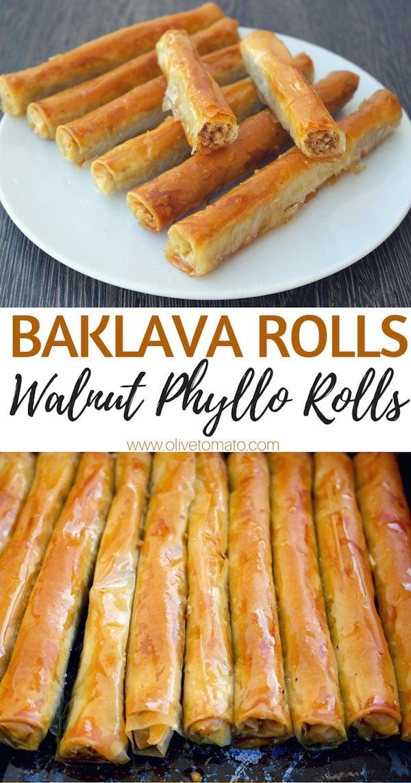 Baklava Rolls Walnut phyllo rolls