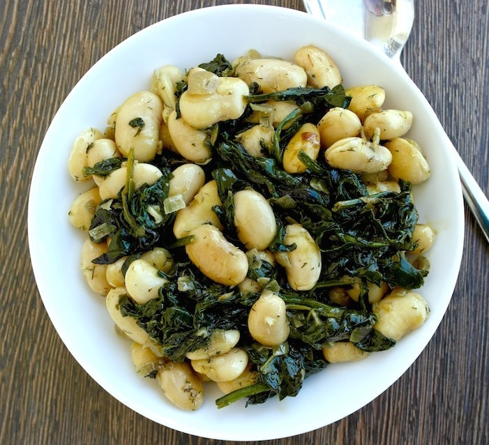 Greek Roasted Beans and Spinach- Gigantes me Spanaki