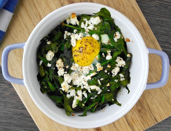 Baked Egg with Spinach and Feta