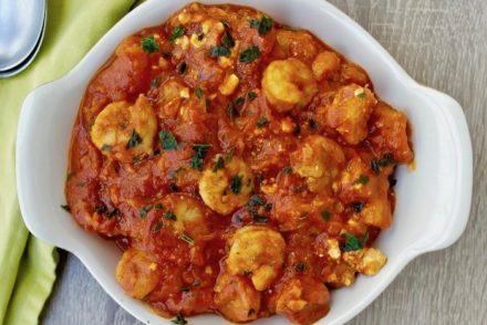 Shrimp with Tomatoes, Feta and Ouzo- Garides Saganaki