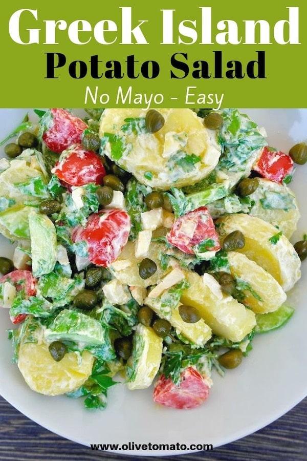 Greek island potato salad, no eggs, no mayo #salad #potato #nomayo #healthy #mediterranean #greek