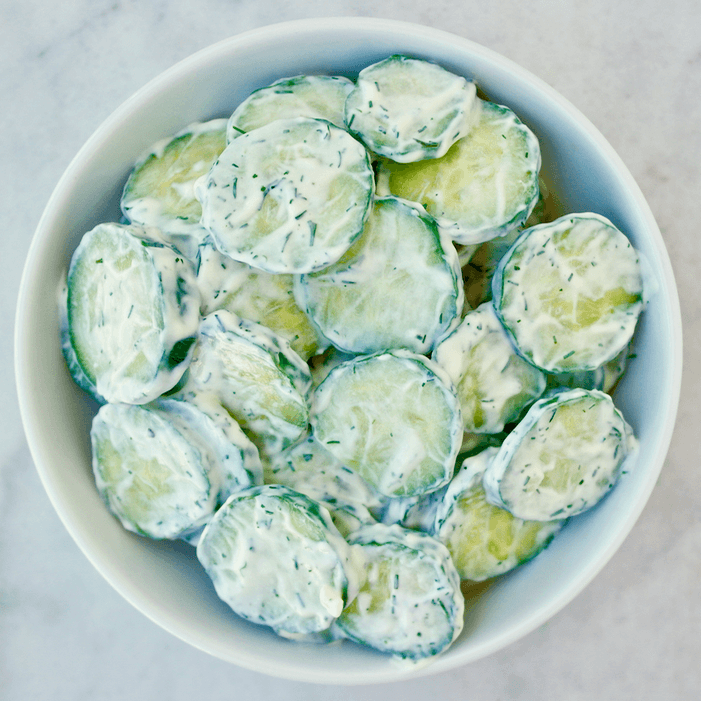 Cucumber salad with tzatziki