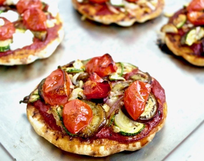 Greek Roasted Veggie Pita Pizza