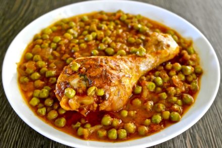 Greek chicken with peas