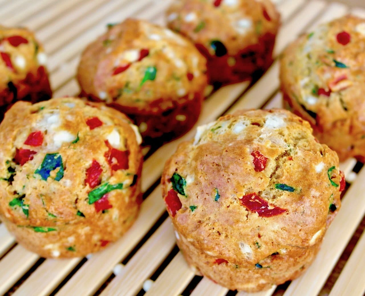 Feta Spinach and Red Pepper Muffins