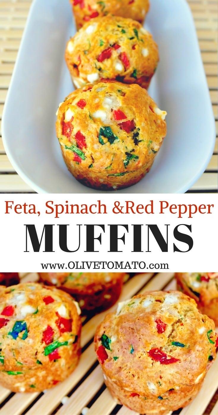 Feta, Spinach & Red Pepper Muffins