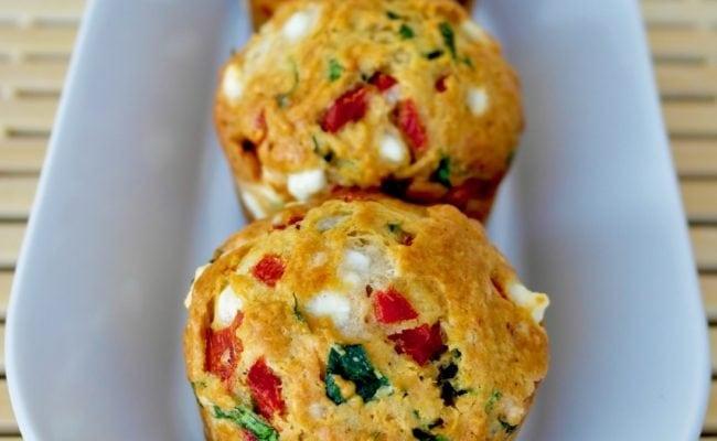 Feta Spinach Red pepper muffins