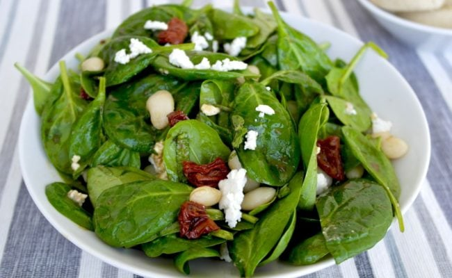 Mediterranean Spinach Salad with feta and beans