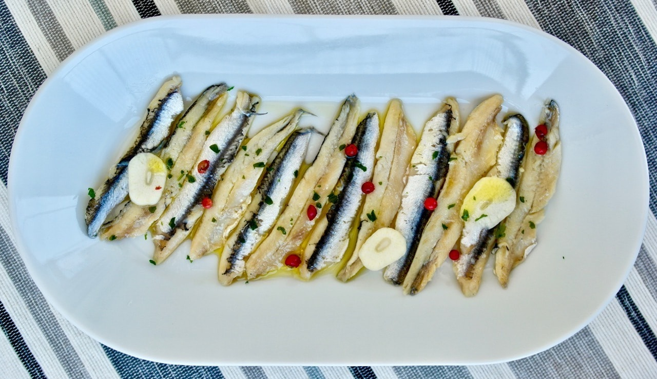 Greek marinated anchovies Gavros Marinatos