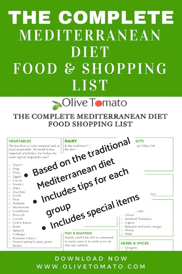 Mediterranean Diet Food and Shopping List