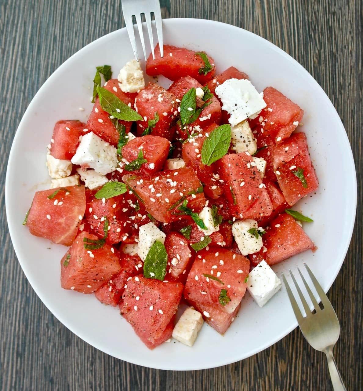 Watermelon And Feta Salad With Honey Balsamic Vinaigrette