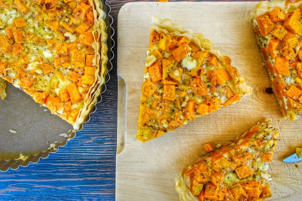 Easy Sweet Potato and feta tart