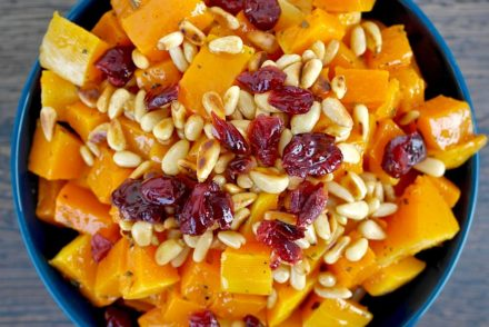 Roasted Butternut squash with pine nuts and cranberries