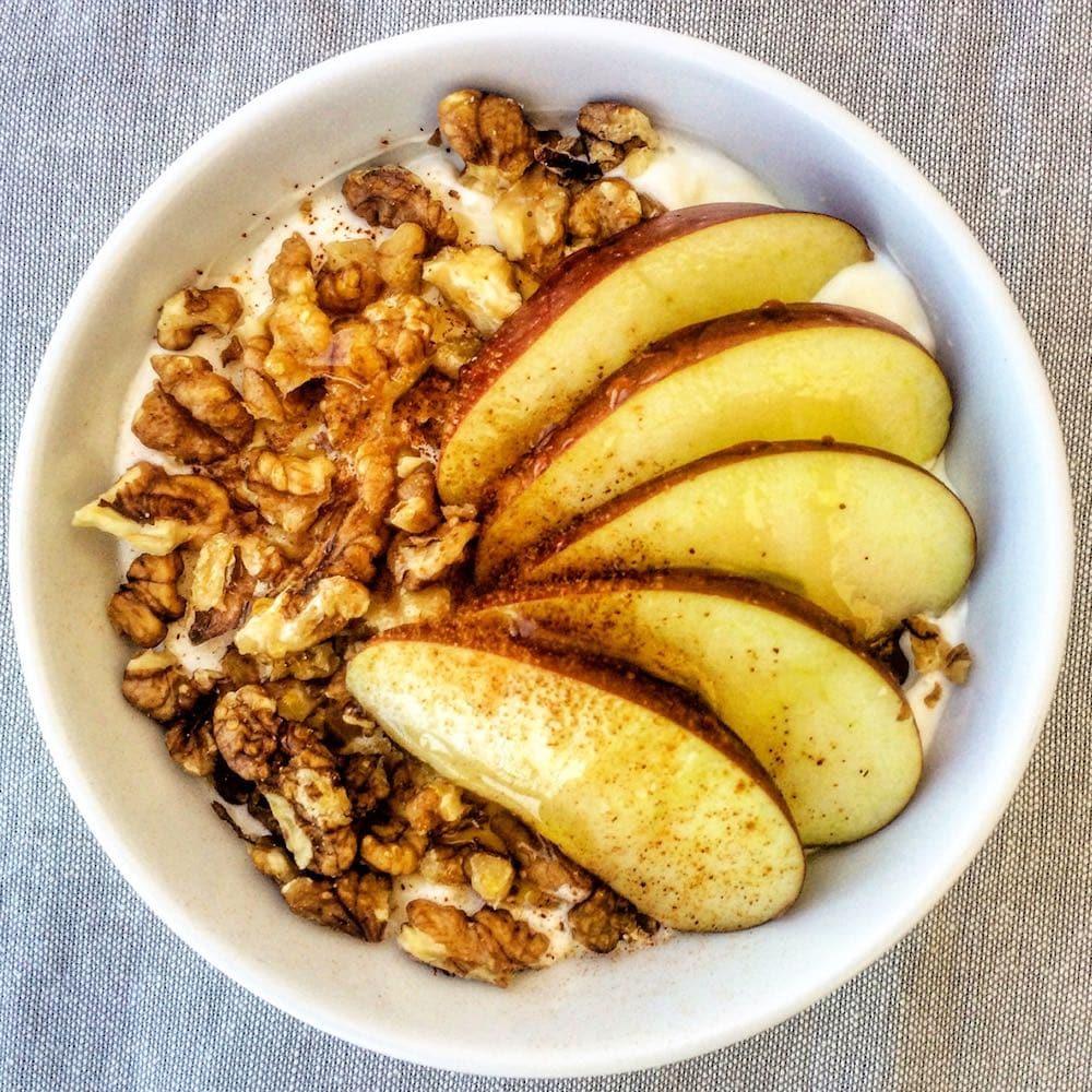 Greek yogurt apples and walnuts