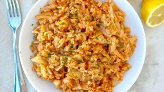 Greek Cabbage with Rice & Tomato; Lahanorizo