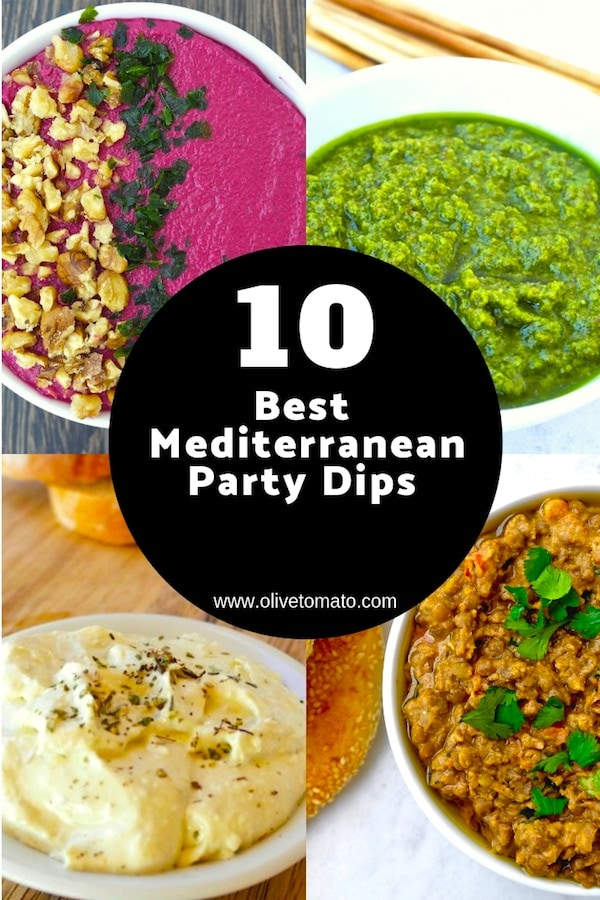 10 Mediterranean Party Dips that everybody will love #dips #mediterraneandiet #tzatziki #hummus #dips #spreads #sauce #healthy