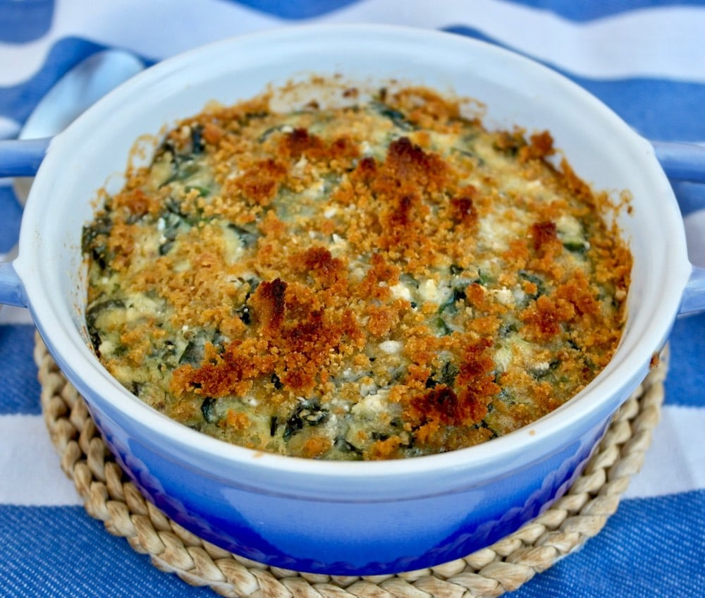 Spinach Casserole with feta and crunchy topping, Gratin. Melted feta along with spinach and a touch of parmesan. This is a perfect healthy recipe for a main dish, a side dish or brunch