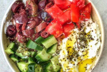 Mediterranean Diet Guide with menu plans, shopping list, foods to eat, foods to avoid, what to drinks. Menu including Mediterranean breakfasts, lunch, dinner and snacks