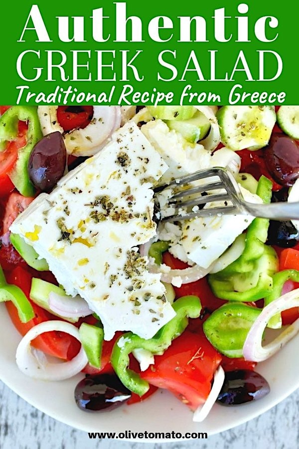 Authentic Traditional Greek Salad. Get the recipe for this Greek salad straight from Greece! Yummy summer veggies drizzled with olive oil and topped with feta? #salad #Greek #Mediterranean #summer